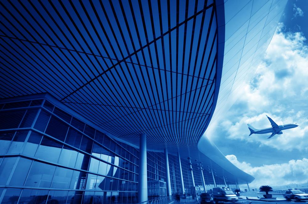 Samolot, samochód, lotnisko - obraz